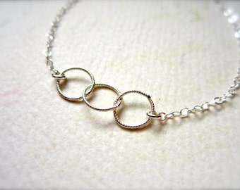 Trio Bracelet - three circle bracelet, triple circle bracelet, bridesmaid jewelry, classy trinity bracelet, B03/04/10
