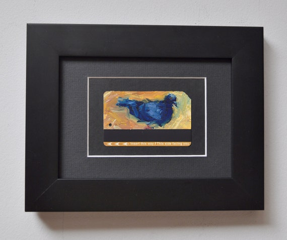 ART Oil Painting NYC Pigeon Upcycled Subway Card