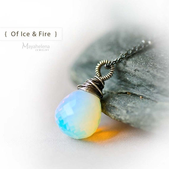 Of Ice & Fire - Opalite Briolette Wire Wrapped Sterling Silver Necklace