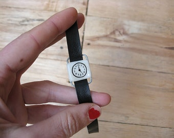 NEW Retro fake watch bracelet. BLACK VEGAN faux leather band. One-of-a-kind handmade toy clock.