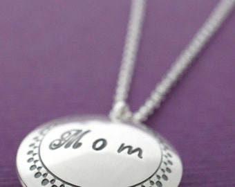 Mother of the Bride Locket Necklace - Personalized Jewelry in Sterling Silver by Eclectic Wendy Designs