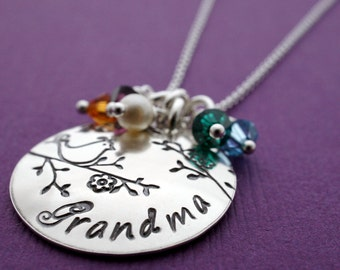 Grandmother's Birthstone Necklace - Personalized Jewelry in Sterling Silver by EWDjewelry - Gifts for Mom