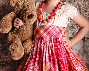 M2M Corinna Couture Poppy Phoebe & Penelope Dresses Chunky Necklace for Little Girls