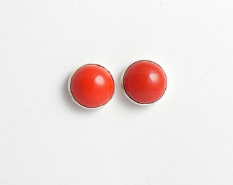 Red Coral stud earrings - 10 mm ear studs - Red coral earrings - Gemstone earring - Red studs - Gift for her