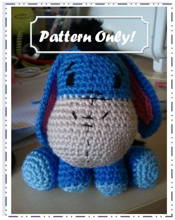 Crochet Amigurumi Eeyore : Eeyore Amigurumi Pattern by CraftySaturdays on Etsy