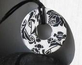 Stunning Black Rose gothic Upcycled papers WASHER Hardware Pendant Necklace
