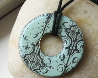 Stunning Gothic Aqua Blue and Black Filigree Designer Hardware Washer Pendant Necklace