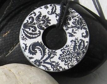 Beautiful Black and White Damask Upycled Paper Hardware WASHER Pendant Necklace