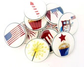 """10 Fourth of July Buttons. Handmade Buttons.   3/4"""" or 20 mm. Americana or Patriotic Sewing Buttons."""