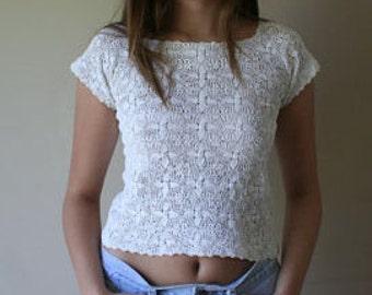 1920s HANDMADE white CROCHET blouse, xxs, xs