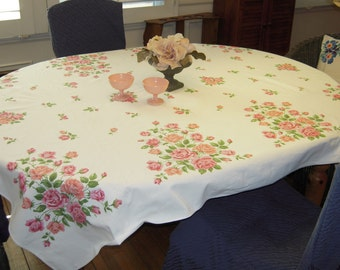 Vintage Broderie Tablecloth Pretty Pink Roses