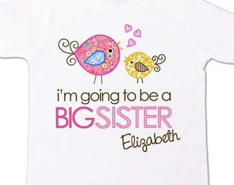 Big sister to be WHIMSY bird i'm going to be a big sister pregnancy announcement Tshirt
