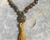 Fancy Jasper Mala Bracelet prayer beads rosary - 27 beads - green, tan red
