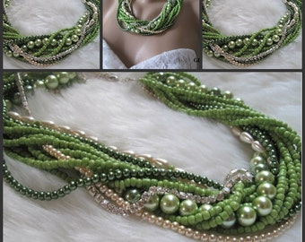 Bold Bridal Wedding , Handmade, chunky layered  pearl necklace, green pearl, seed bead. Crystal chain, statement necklace