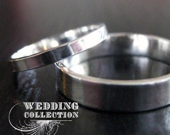 Set Recycled Silver Wedding Rings Simple and Polished