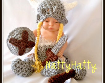 Girl Viking hat, diapercover ,boots, sword and  shield  0 to 18 Months