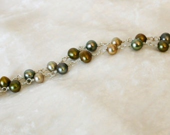 pearl and sterling silver necklace in shades of green and brown - forest floor