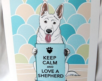 Keep Calm White German Shepherd with Scaled Background - 7x9 Eco-friendly Print