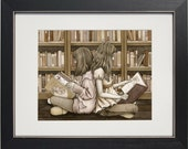 Read With Me - archival watercolor print by Tracy Lizotte