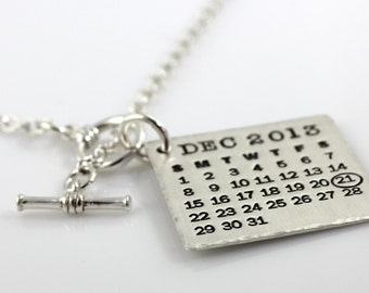 Personalized Calendar Necklace - Mark Your Calendar Necklace - hand stamped sterling silver necklace with sterling toggle and hammered edge