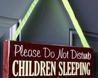 Please Do Not Disturb Children Sleeping No Solicitng wood sign door hanger