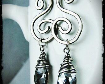 Silver Swirls and Swarovski Crystal Earrings