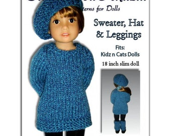 Knitting Pattern fits Kidz n Cats Dolls. Sweater, Hat, and Leggings, Instant Download 451