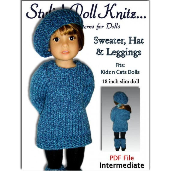 Knitting Pattern fits Kidz n Cats Dolls. Sweater Hat and