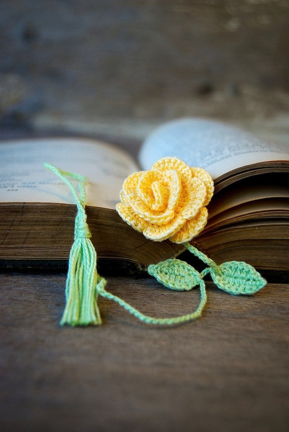 Crochet Flower Bookmark Handmade Yellow Rose