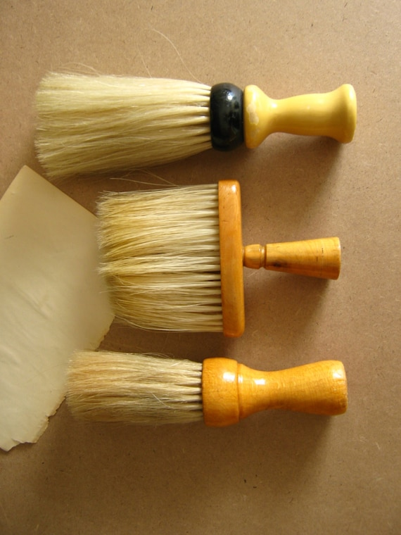 Antique Neck Dusters, Vintage Brushes, Gentlemans Brush, Valet Brush, Barber Shop, Gift for Him