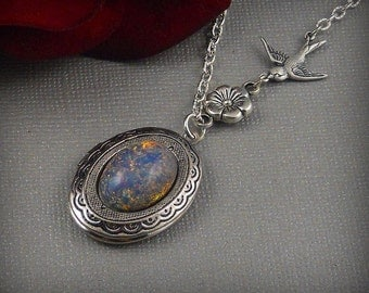 Blue Opal, Silver Sparrow Locket, Bird Swallow Sparrow, Floral Flower Pendant Locket-  Alexandrina