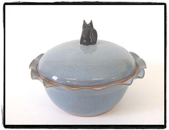 Carolina Blue Lidded Casserole with Black Cat