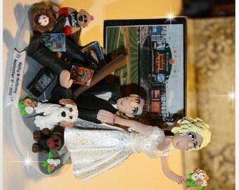 Wedding Cake Topper, Baseball, Bride dragging Groom