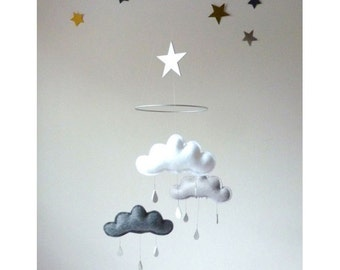 "White , Grey and Charcoal cloud mobile for nursery ""SHINTO"" with star by The Butter Flying Mobile Nursery Children Decor"