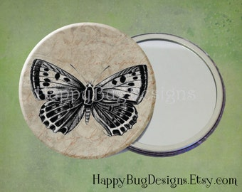 """SALE Vintage Butterfly Pocket Mirror or Magnet - 2.25"""" 2-1/4 inch"""