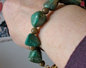 Bracelet of Turquoise Chunks with Small Brown Glass Beads