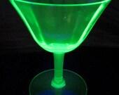 Green Depression Glass Stem Glass Champagne Wine Optic Panel Sherbet Rare DDB7