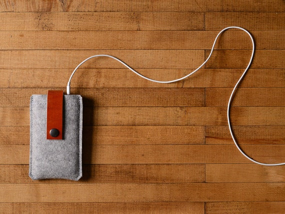 iPhone Case - Grey Wool Felt and Brown Leather