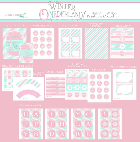 WINTER ONEDERLAND Printable Party Decor Package