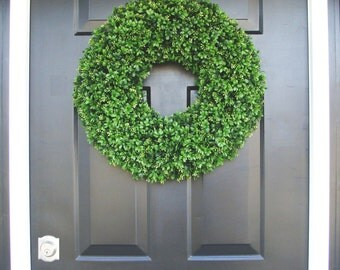 Faux Boxwood Wreaths- Boxwood Decor- Year Round Wreaths- Spring Wreath Decor- Wall Art- Sizes 16-26 inches