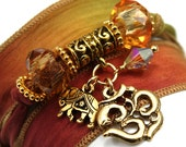 Autumn Leaves Silk Wrap Yoga Bracelet with Antique Om and Indian Elephant