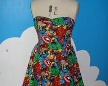 Marvel avengers sweet heart dress - thor, spiderman, hulk, captain america, wolverine, ironman