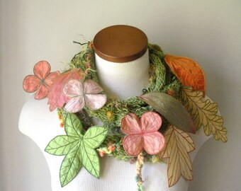Long and Leafy Scarf with Embroidered Leaves- Spring Green with Leaves of Peach, Salmon Pink, Light Yellow, and Apple Green- Fiber Art Scarf