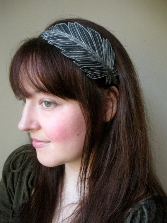 Feather Headband- Beautifully Unique Silk Fabric Feather- Black with Silver, Grey, and Shimmery Black Embroidery