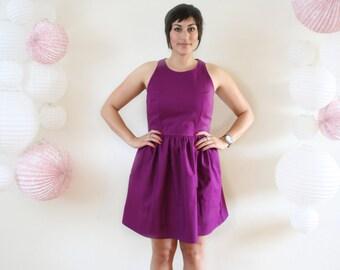 Custom Spring Dress. Racerback Full Skirt with Pockets in Bold Plum Raspberry.Voluminous 1950s Sleeveless Knee Length Vintage Style Dress