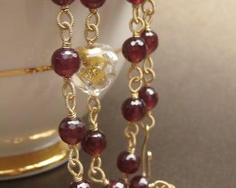 SALE Medici garnet necklace