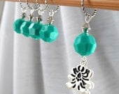 Last Set - SALE 15% OFF - In Green Joy - Five Handmade Stitch Markers - 9.0 mm (13 US) - Limited Edition