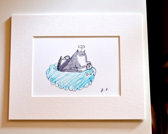 Angel Cat - READY TO FRAME - Kitteh Heaven - Pet Loss - Cat Gift