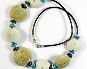 Swirled Gray and Turquoise Lampwork Glass Bead Necklace SRA