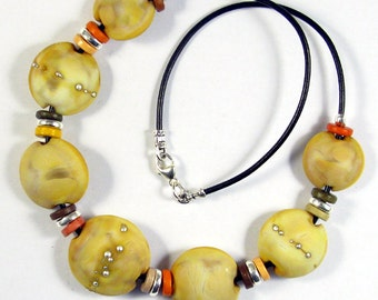 Sandstorm Lentil Glass Bead Necklace SRA